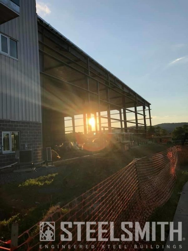 Sunset through framing of new bldg, GOOD pic Nittany from fb