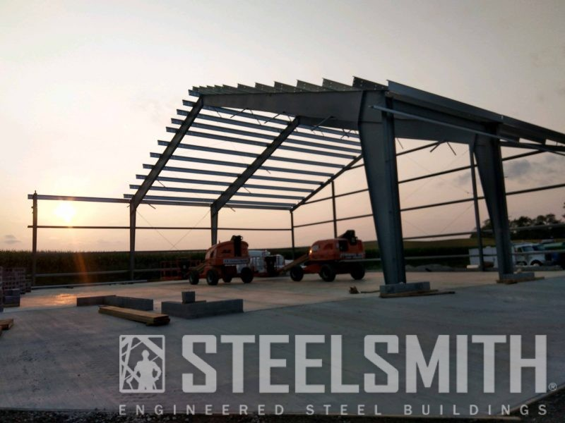 GOOD Framing with half purlins installed, sunset, MOONLighters