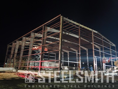 Night shot, whole bldg being framed2